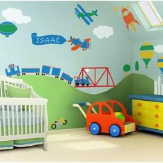 Also considering a transportation theme!    http://www.amazon.com/dp/B004D63A2C/ref=cm_sw_r_pi_dp_3hk2pb1QQPZF1 Boy Toddler Bedroom, Baby Boy Rooms, Boys Bedroom Cars, Car Bedroom Ideas For Boys, Big Boy Bedrooms, Baby Bedroom, Toddler Rooms, Room Baby, Child Room