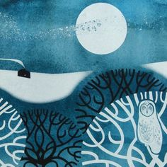 Winter- Sally Elford Display all pictures Print View full size 'Winter' silkscreen & giclee print by Sally Elford Art And Illustration, Angie Lewin, Winter Art, Winter Snow, Screen Printing, Printing Press, Printmaking, Creations, Art Prints
