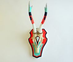 TEAL & NEON RED coral turquoise black white geometric aztec navajo painted deer skull and antlers horns - taxidermy unusual art gift decor