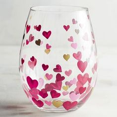 Scattered Hearts Painted Stemless Wine Glass
