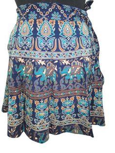 Womens Wrap Skirt, Blue Jaipuri Elephant Printed Cotton Mini Skirts Sarong Dress Mogul Interior,http://www.amazon.com/dp/B00FGP85M4/ref=cm_sw_r_pi_dp_1w5rsb0Y8D87N9Z6