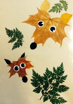 Maple leaf foxes Fox Crafts, Leaf Crafts, Arts And Crafts, Fall Crafts For Toddlers, Toddler Crafts, Autumn Activities, Craft Activities, Halloween Crafts, Holiday Crafts