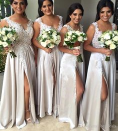 Cheap A line V Neck Lace Bridesmaid Dresses Chiffon Long Split Beach Wedding Gust Dress Maid of Honor Gowns BD296