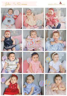 Fotografia do baby a cada mês