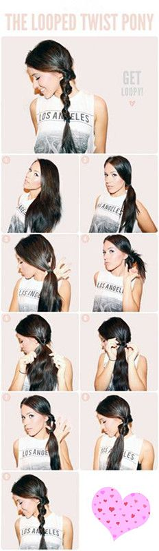 How to make the looped twist pony#ponytail#