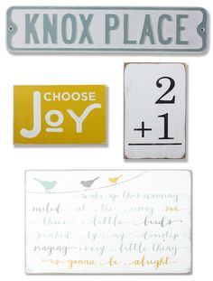 Choose Joy Bundle - Barn Owl Primitives - Perfect for a gallery wall or to accent any room.  Personalize the street sign with your family name and the flashcard with your family size.  Such a cute way to share your family story.