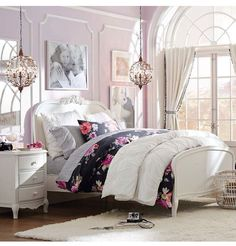 Floral print bed covers+ pillow covers & elegant nude colored furniture with diamond chandelier!