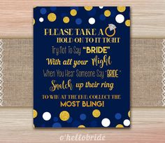 Don't Say Bride Navy Blue Gold Bridal Shower Games  by ohellobride