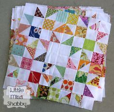 Lovely block including a quick technique for trimming half square triangles with any ruler