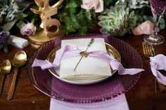Wedding Inspiration Feature – Luxe Boho Meets Soft Lavender. Purple charger with lavender and gold menu. http://www.theweddingguru.ca/wedding-inspiration-feature-luxe-boho-meets-soft-lavender/ #purplewedding