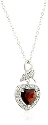 Sterling Silver Garnet and Diamond Accent Ribbon with Heart Pendant Necklace 18'...