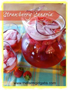 Strawberry Sangria ~ www.thefarmgirlgabs.com