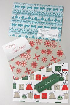 Christmas greeting cards with patterns purchased on patterndesigns.com Christmas Greeting Cards, Christmas Greetings, Stationery, Merry, Patterns, Block Prints, Paper Mill, Stationery Set, Xmas Cards