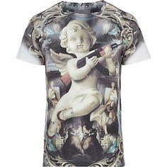 Yellow Anticulture cherub print t-shirt $30.00