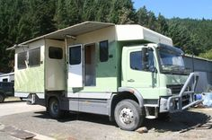 2005 custom build on Mercedes chassis - New Zealand. 28000 man hours to build. Designed to travel the world and keep the passengers and the unit itself when left out and about, to be safe and secure at all times.   It has two slide-outs, and three electrically raised aluminum shutters..