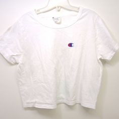 e07de24c4 New Womens Champion White Classic Crew Short Sleeve Crop Top Size Large # Champion #CropTop