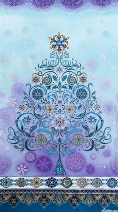 "eQuilter Winter's Grandeur - Snowflake Tree - Iris - 24"" x 44"" PANEL"