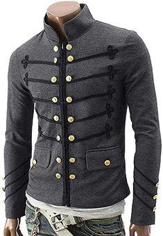 NPRADLA 2018 Jacke Herren Slim Fit Mantel Gothic Sticken Knopf Mantel Uniform Kostüm Party Oberbekleidung(S/34,Grau): Amazon.de: Bekleidung