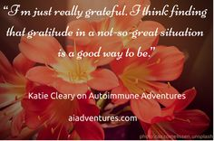 Katie Cleary of autoimmunemom.com shared how to raise a family while managing chronic illness on the recent episode of #AutoimmuneAdventures #autoimmunity #chronicillness #health #healing #gratitude Autoimmune, Chronic Illness, Gratitude, Grateful, Healing, Adventure, Chopsticks, Grateful Heart, Adventure Movies