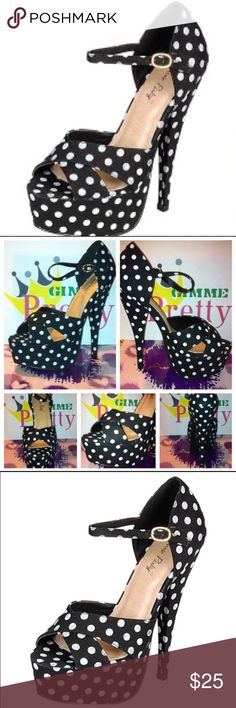 Retro Black and White Platform Polka Dot Heels Really cute, gorgeous in person, great to dress up any outfit or to pair with more formal attire Shoes Heels