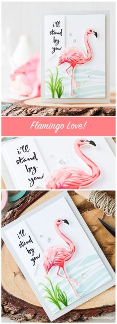 Who doesn't love flamingos? The Hero Arts flamingo makes a stunning focal point… Hero Arts Cards, Beach Cards, Stampin Up Catalog, Ideas Geniales, Doodle Designs, Bird Cards, Animal Cards, I Card, Card Kit