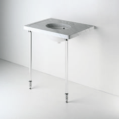 Glass Round Two Leg Single Washstand 2 3/4 x 2 3/4 x 35 — Products   Waterworks. Unlacquered brass feet & faucet...