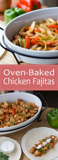 These oven-baked chicken fajitas make a great easy freezer meal recipe and require very little prep to make them or bake them!