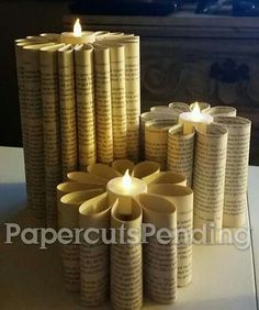 Chunky candle using the small flicker votives (no real flame)