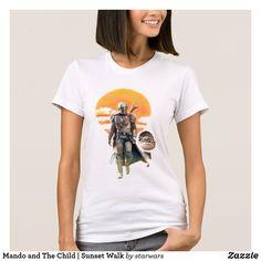 Mando and The Child | Sunset Walk T-Shirt Star Wars Design, Star Wars Baby, Star Wars Gifts, American Apparel, Wardrobe Staples, Fitness Models, T Shirts For Women, Sunset, Children