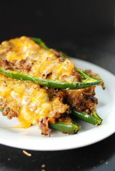 Queso & Ground Beef Poblano Peppers- use half the salt recommended and blanch peppers before hand
