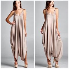 New Arrival Color - Mocha Jumpsuit Romper Best selling style nwot mocha jumpsuit . Comfortable and stylish . Dress it up with heels / wedges or wear casually with sandals . You will get many compliments wearing this jumpsuit . Size will fit Small - XXL is one size fits most . Please comment for personal listing . Vivacouture Dresses Maxi