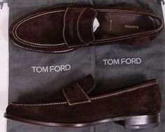 MEN SHOES AND CLOTHING | Tom Ford Shoes $1195 Brown Suede Contrast Stitch Handmade Loafer 12 5