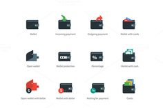 Wallet and transaction color icons @creativework247