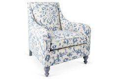 Yves Chair, Light Blue/Ivory