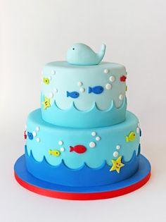 Super baby boy shower cakes no fondant first birthdays Ideas Ocean Cakes, Beach Cakes, Birthday Cake Kids Boys, First Birthday Cakes, Fish Cake Birthday, Whale Birthday, 60th Birthday, Fondant Cakes, Cupcake Cakes