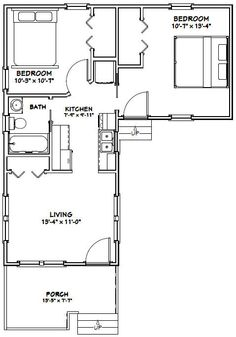 14x32 Tiny Homes 643 sq ft PDF Floor by ExcellentFloorPlans