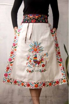 Batik Amarillis's Viva La Vida  skirt  with  Mexican folk art embroidery