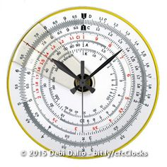 For the nerdy geek in your life, this unique wall clock features a high-resolution scan of a vintage antique circular slide rule showing various numeric scales. http://www.zazzle.com/vintage_antique_circular_slide_rule_large_clock-256769486384550663?rf=238083504576446517&tc=20161124_pint_SSoZ #time #math #homedecor #StudioDalio