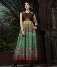 Buy Green Banglori Readymade Gown 74812 online at lowest price from vast…  Printed Gowns 4e5552110