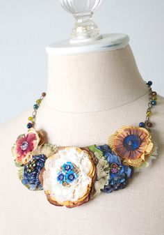 Colorful Floral Bib Necklace Fabric Flower by rosyposydesigns