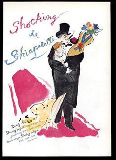 1954 Schiaparelli Shocking perfume Vertes couple & torso bottle art vintage ad