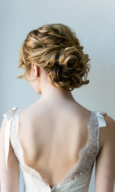 Romantic updo wedding hairstyle - medium long hair, elegant. See more: http://www.weddingforward.com/romantic-bridal-updos-wedding-hairstyles/ #weddinghairstyles #bridalhairstyles