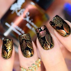 21 Trendy Fall Nail Design Ideas - Best Trend Fashion - Black Nails with H . - 21 Trendy Fall Nail Design Ideas – Best Trend Fashion – Black Nails with Fall Leaf Design for F - Nail Art Designs, Acrylic Nail Designs, Nails Design, Acrylic Nails, Nail Stamping Designs, Autumn Nails, Fall Nail Art, Black Nail Art, Black Nails