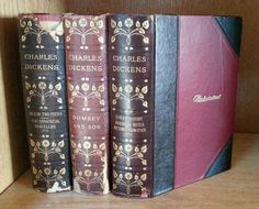 Antique Charles Dickens Lot of 3 Leather Books Rustic Decor Tale of Two Cities, Dombey & Son, etc.