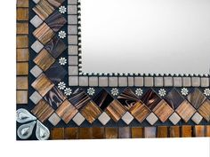 Accent Mirror - Brown, Bronze, Silver, Black Mosaic Mirrors, Bathroom Mirrors, Glass Mosaic Tiles, Green Street, Media Wall, Color Shapes, Ball Chain, Bronze, Silver