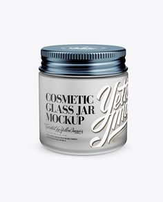 Frosted Glass Cosmetic Jar Mockup – Front View (High Angle Shot)
