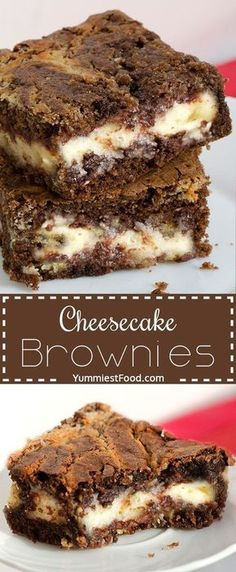 Perfect combination of cheese a… Cheesecake Brownies – amazing chocolate dessert. Perfect combination of cheese and chocolate. Brownie Desserts, Brownie Recipes, No Bake Desserts, Cheesecake Recipes, Easy Desserts, Cookie Recipes, Delicious Desserts, Yummy Food, Brownie Cheesecake