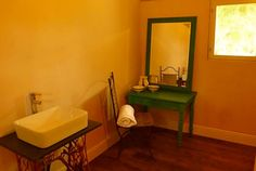 Bathroom shot for Glamping Tipis in Charente, France. Dispelling the myth that camping is a grotty affair.