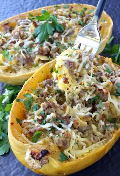 Sausage Spaghetti Squash with Apple Cider Glaze is made with Italian sausage, parmesan cheese and reduced apple cider. It's delicious! #sausagespaghettisquash #spaghettisquashrecipe #spaghettisquashdinner #howtocookspaghettisquash #cookingspaghettisquash #spaghettisquashbake #bakedspaghettisquashrecipe #bestspaghettisquashrecipe Sausage And Spaghetti Squash, Spaghetti Squash Casserole, Spaghetti Squash Recipes, Zucchini Spaghetti, Sausage Recipes, Cooking Recipes, Healthy Recipes, Keto Recipes, Pork Recipes