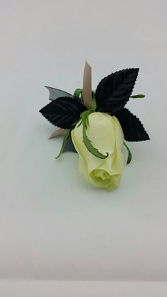 White Rose Boutonniere with Nude and Black Accent